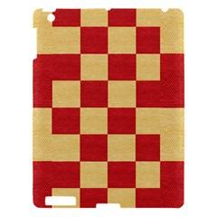 Fabric Geometric Red Gold Block Apple Ipad 3/4 Hardshell Case by Nexatart