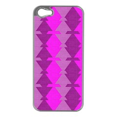 Fabric Textile Design Purple Pink Apple Iphone 5 Case (silver)