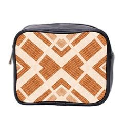 Fabric Textile Tan Beige Geometric Mini Toiletries Bag 2 Side by Nexatart