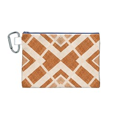 Fabric Textile Tan Beige Geometric Canvas Cosmetic Bag (m) by Nexatart