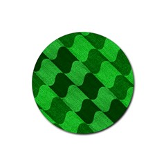 Fabric Textile Texture Surface Rubber Coaster (round)  by Nexatart