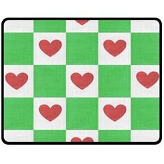 Fabric Texture Hearts Checkerboard Double Sided Fleece Blanket (medium)  by Nexatart
