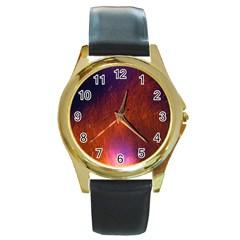Fire Radio Spark Fire Geiss Round Gold Metal Watch by Nexatart