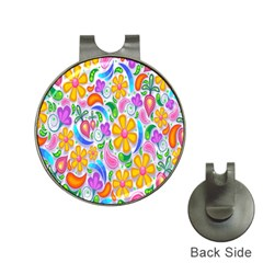 Floral Paisley Background Flower Hat Clips With Golf Markers by Nexatart