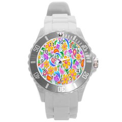 Floral Paisley Background Flower Round Plastic Sport Watch (l) by Nexatart