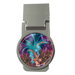 Feather Fractal Artistic Design Money Clips (round)  by Nexatart