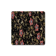 Floral Pattern Background Square Magnet by Nexatart