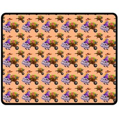 Flowers Girl Barrow Wheel Barrow Double Sided Fleece Blanket (Medium)  by Nexatart