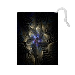 Fractal Blue Abstract Fractal Art Drawstring Pouches (large)  by Nexatart