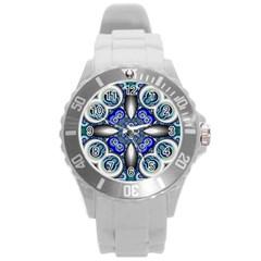 Fractal Cathedral Pattern Mosaic Round Plastic Sport Watch (l) by Nexatart