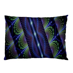 Fractal Blue Lines Colorful Pillow Case by Nexatart