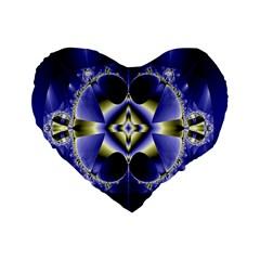 Fractal Fantasy Blue Beauty Standard 16  Premium Flano Heart Shape Cushions by Nexatart