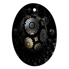 Fractal Sphere Steel 3d Structures Ornament (oval) by Nexatart