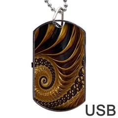 Fractal Spiral Endless Mathematics Dog Tag Usb Flash (one Side) by Nexatart