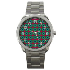 Geometric Patterns Sport Metal Watch by Nexatart