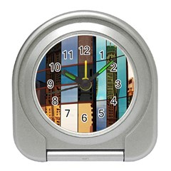 Glass Facade Colorful Architecture Travel Alarm Clocks by Nexatart
