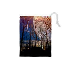 Full Moon Forest Night Darkness Drawstring Pouches (Small)  by Nexatart