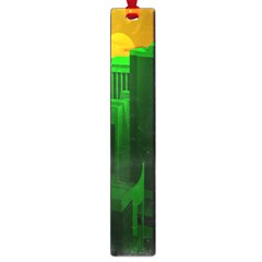 Green Building City Night Large Book Marks by Nexatart