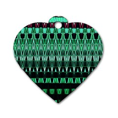 Green Triangle Patterns Dog Tag Heart (one Side) by Nexatart