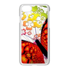 Greeting Card Butterfly Kringel Apple iPhone 7 Seamless Case (White) by Nexatart