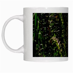 Green Leaves Psychedelic Paint White Mugs by Nexatart