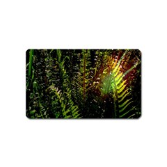 Green Leaves Psychedelic Paint Magnet (name Card) by Nexatart
