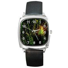 Green Leaves Psychedelic Paint Square Metal Watch by Nexatart
