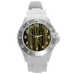Green And Brown Bamboo Trees Round Plastic Sport Watch (l) by Nexatart