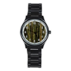 Green And Brown Bamboo Trees Stainless Steel Round Watch by Nexatart