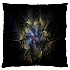 Fractal Blue Abstract Fractal Art Large Flano Cushion Case (one Side) by Nexatart
