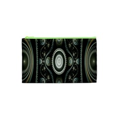 Fractal Beige Blue Abstract Cosmetic Bag (xs) by Nexatart
