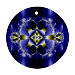 Fractal Fantasy Blue Beauty Round Ornament (two Sides) by Nexatart