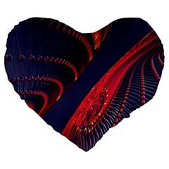 Fractal Fractal Art Digital Art Large 19  Premium Heart Shape Cushions by Nexatart