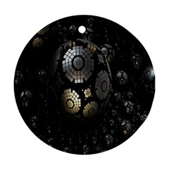Fractal Sphere Steel 3d Structures Round Ornament (two Sides) by Nexatart