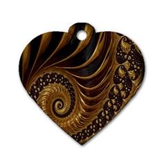 Fractal Spiral Endless Mathematics Dog Tag Heart (one Side) by Nexatart