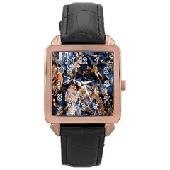 Frost Leaves Winter Park Morning Rose Gold Leather Watch  by Nexatart