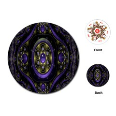 Fractal Sparkling Purple Abstract Playing Cards (round)  by Nexatart