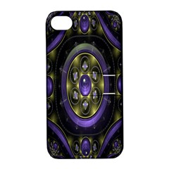 Fractal Sparkling Purple Abstract Apple iPhone 4/4S Hardshell Case with Stand by Nexatart