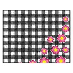 Floral Plaid Pattern Rectangular Jigsaw Puzzl by Valentinaart