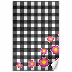 Floral Plaid Pattern Canvas 24  X 36  by Valentinaart