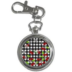 Cherries Plaid Pattern  Key Chain Watches by Valentinaart