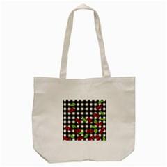Cherries Plaid Pattern  Tote Bag (cream) by Valentinaart
