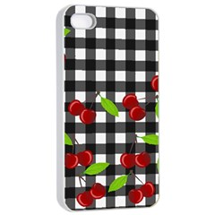 Cherries Plaid Pattern  Apple Iphone 4/4s Seamless Case (white) by Valentinaart