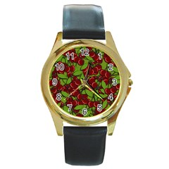 Cherry Jammy Pattern Round Gold Metal Watch by Valentinaart