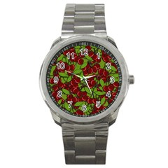Cherry Jammy Pattern Sport Metal Watch by Valentinaart