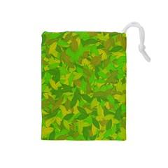 Green Autumn Drawstring Pouches (medium)  by Valentinaart