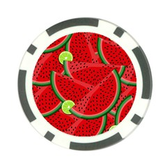 Watermelon Slices Poker Chip Card Guard by Valentinaart