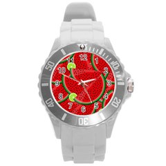 Watermelon Slices Round Plastic Sport Watch (l) by Valentinaart