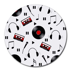Music Pattern Round Mousepads by Valentinaart