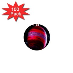 Glass Ball Decorated Beautiful Red 1  Mini Buttons (100 Pack)
